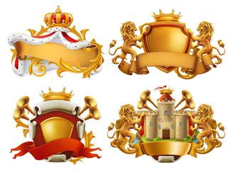 Coats of arms. King and kingdom. 3d vector emblem set