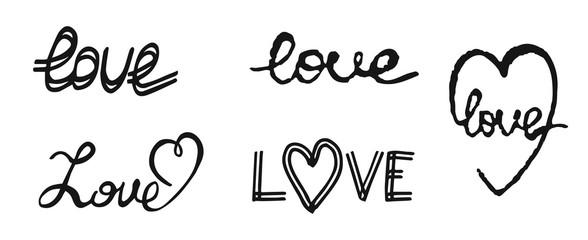 Hand write text love. Design elements for Valentine day.