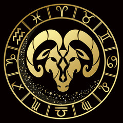 Aries zodiac sign on a dark background with round gold frame