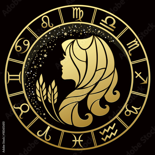 c4da3b86d Virgo zodiac sign on a dark background with round gold frame