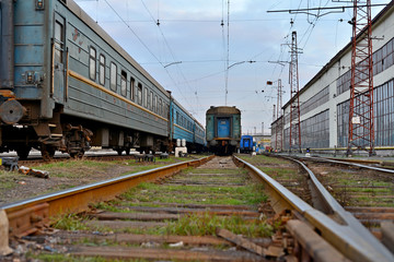 Passenger and freight train. Passenger diesel train traveling speed railway wagons journey light