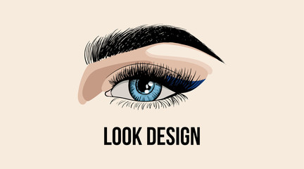 Beauty look design business card or logo template with beauty eye. Beautiful fashion open eye application with eyelash and eyebrow template. Vector illustration on beige background.