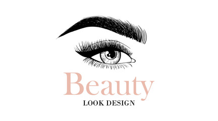 Beauty look design business card or logo template with open eye and eyelashes and eyebrow. Sample logo for beauty salon, cosmetics product, cosmetology procedures, makeup stylist, master on eyebrows.