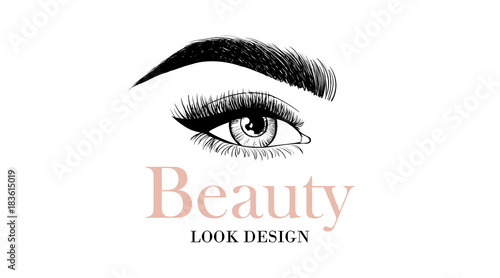 2c0e67d3f65 Beauty look design business card or logo template with open eye and  eyelashes and eyebrow.