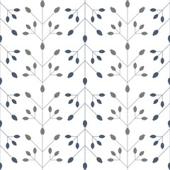 Modern vector floral seamless geometric pattern with  stylized rose hips berries and leaves in retro scandinavian style. Simple outlines with worn out texture.