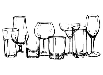 Set of hand drawn sketch style glasses. Vector illustration isolated on white background.