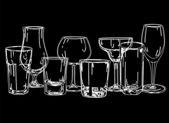Set of hand drawn sketch style glasses. Vector illustration isolated on black background.