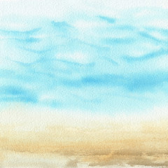Fototapeta Ocean watercolor hand painting illustration. obraz