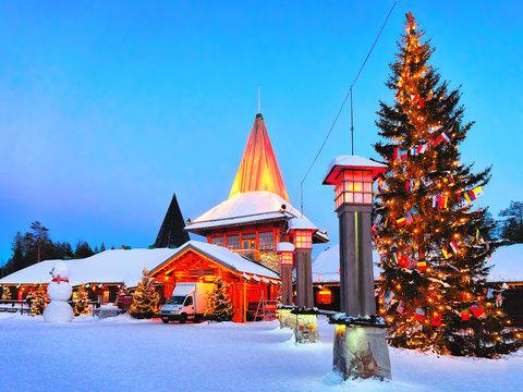 Arctic Circle lanterns in Santa Office in Santa Village evening