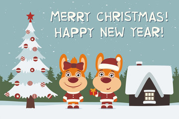 Merry Christmas and Happy New Year! Greeting card: two bunny rabbits, boy and girl, with gift near Christmas tree.