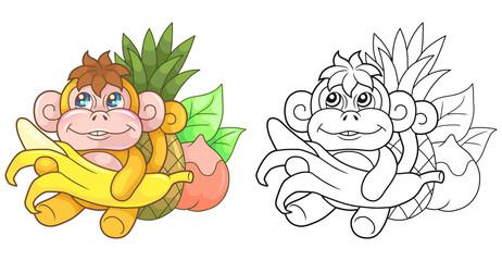 cartoon cute monkey with banana, funny illustration