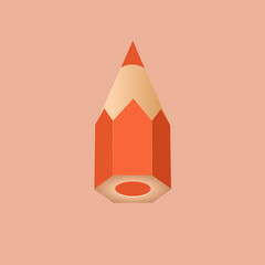 A liitle and iconic orange pencil. Vector Illustration