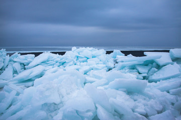 Ice thrown out on the coast.