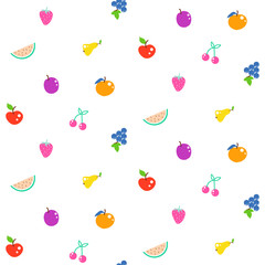 Bright summer juicy fruit cartoon seamless vector pattern. Fun kid style repeat background.