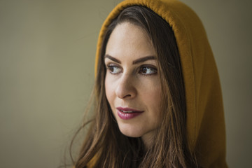 Portrait of woman with hood