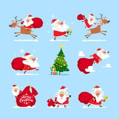 Santa Claus set image. Vector, illustration