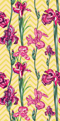 Pink Iris Vector Seamless Pattern