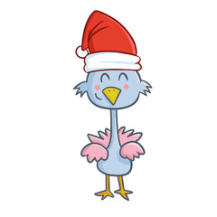 Cute and funny blue chicken wearing Santa's hat for Christmas and smiling - vector.