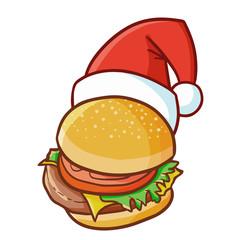 Cute and funny hamburger wearing Santa's hat for Christmas and smiling - vector.