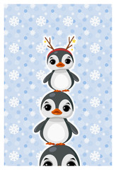 Greeting card with сute penguin in winter clothes.