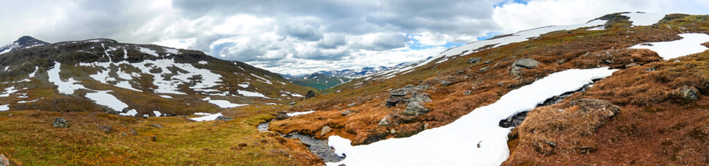 Wide-format panorama for an architectural visualization. Northern Sweden, Sarek National Park