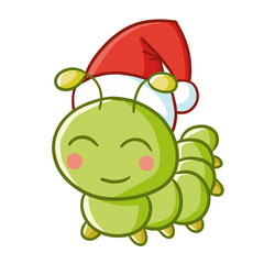 Cute and funny caterpillar wearing Santa's hat for Christmas and smiling - vector.