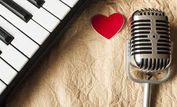 music background with piano and retro microphone