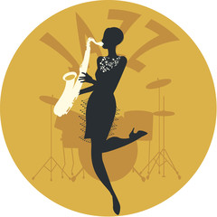 Musical style. Jazz. Silhouette of flapper girl playing saxophone and drums in the background