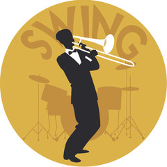 Musical style. Swing. Silhouette of trombonist and drums in the background
