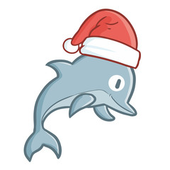 Funny and cute jumping dolphin wearing Santa's hat for Christmas and smiling - vector.