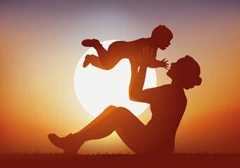 mère, enfant - bonheur - aimer - jouer - bébé - amour - coucher de soleil - embrasser - bonheur
