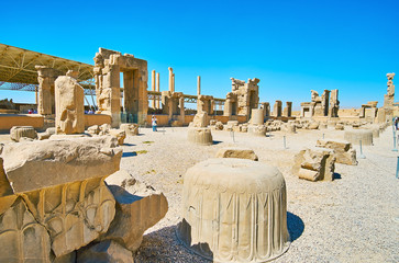 Ruins of Hundred Columns Hall, Persepolis, Iran