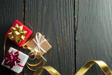 Fototapete - Christmas gifts background