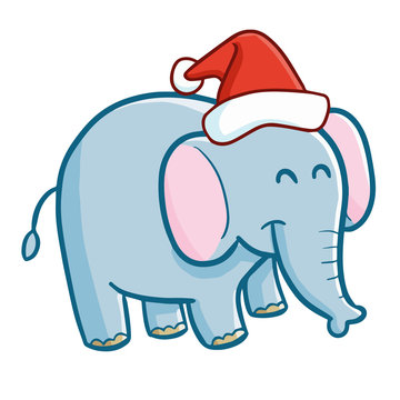 Funny and cute blue elephant wearing Santa's hat for Christmas and smiling - vector.