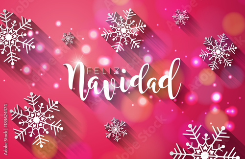 Christmas illustration with spanish feliz navidad typography and christmas illustration with spanish feliz navidad typography and gold cutout paper star on shiny blue background m4hsunfo