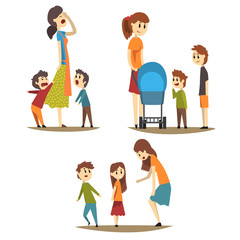 Tired housewife and loudly screaming sons, young mother with baby carriage and two boys next to her, woman scolding little girl. Motherhood concept. Flat vector illustration.