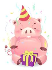 Piggy Bank Robot Mascot Birthday Savings