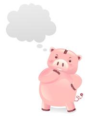 Piggy Bank Robot Mascot Think Illustration