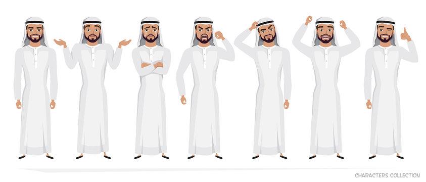 Arab Man character set of emotions