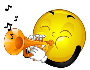 Mascot Smiley Trumpet Illustration