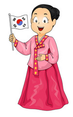 Kid Girl Costume Korean Flag Illustration