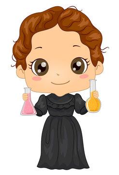 Kid Girl Costume Little Marie Curie Illustration