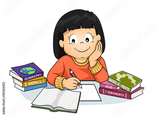 Kid Girl Notes Geography Books Illustration