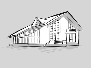 House with conservatory sketch