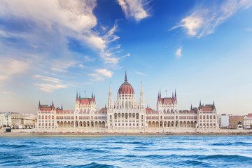 Foto op Canvas Boedapest Beautiful view of the Hungarian Parliament on the Danube waterfront in Budapest, Hungary