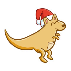 Funny and cute kangaroo wearing Santa's hat and smiling - vector.