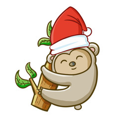 Funny and cute koala wearing Santa's hat and smiling - vector.