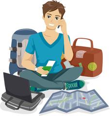 Teen Guy Traveler Packing