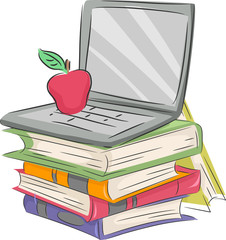 Electronic Learning Books Laptop Illustration