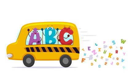 Alphabet Mascots School Bus Illustration
